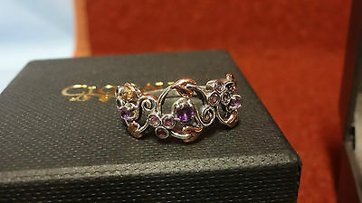 Clogau Silver &Rose Gold Ruthenium Plated & Amethyst Origin Ring Size O RRP £129