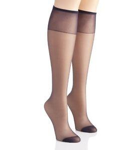 6b15467aa Hanes Silk Reflections Sheer Reinforced Toe Navy Blue Knee Highs One ...