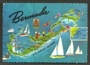 Details About Map Postcard Bermuda Lighthouse Golf B W I 1965