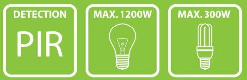 Max Plug-in es360p connecteur//entre Interrupteur Avec Capteur Infrarouge 120 ° 1200 W