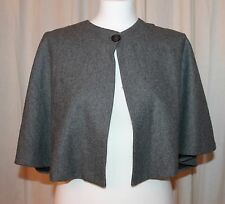Womens AQUA Grey Wool Blend One Button Cape Capelet Shrug Jacket Size M