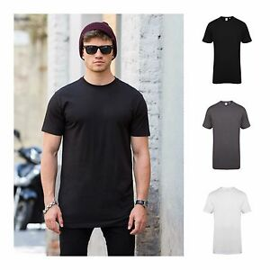 Mens Longline Curved Hem T-Shirt Top Street Fashion Long Body Tee ... 2aec5db6308