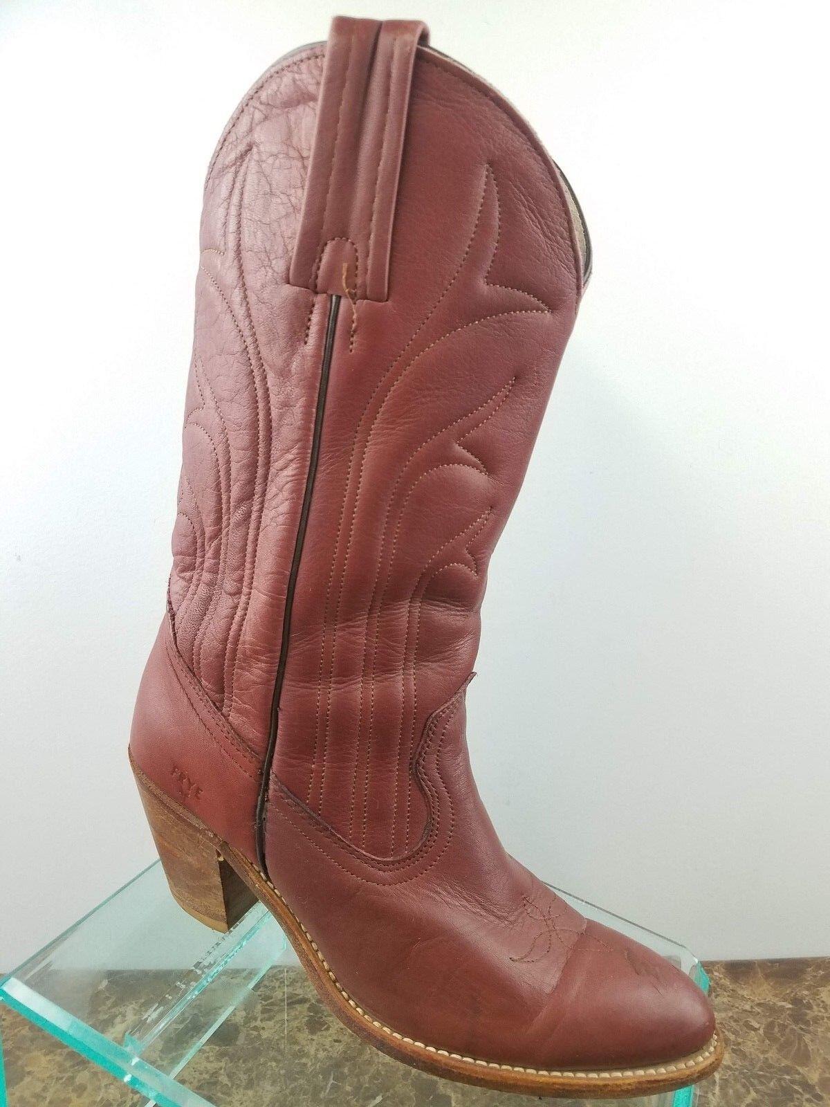 Vintage Frye bspringaaa läder Western Slip på Tooloed Cowboy stövlar kvinnor 8B