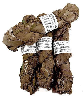 Silk Ribbon 10 yards Dark  Brown Recycled Sari Silk Ribbon Yarn