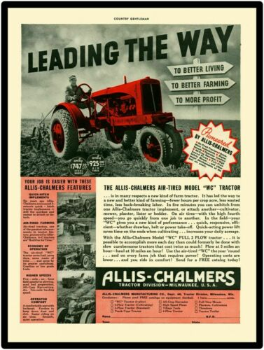 LARGE SIZE  12 X 16 Allis Chalmer Model WC Tractor New Metal Sign