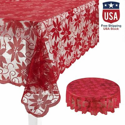 3 Sizes Christmas Tablecloth Lace Table Cover Wedding Holiday Room Xmas Decor Ebay