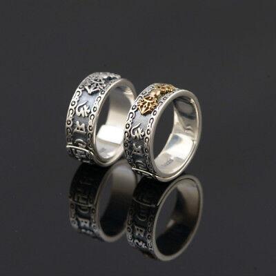 Real 925 Sterling Silver Ring Vajra Adjustable Size 9 10 11