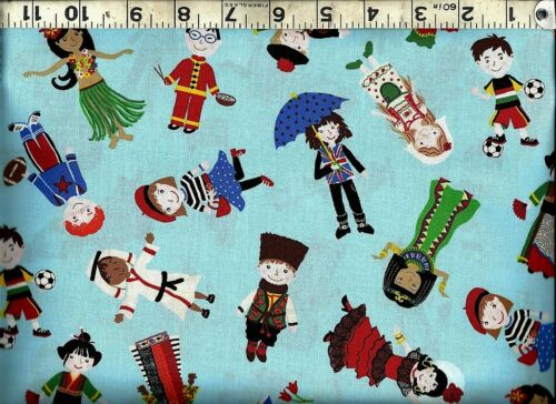 Timeless Treasures ~ Children World Costumes ~ 100/% Cotton Quilt Sew Fabric BTY