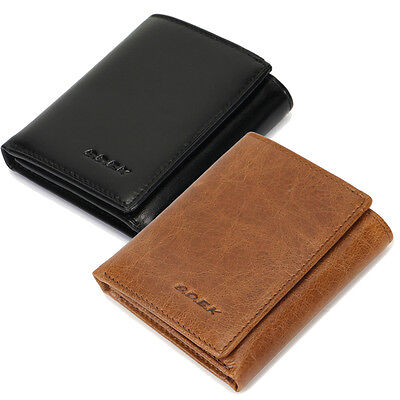 B.D.E.K Men/'s durable Trifold real Genuine Leather Wallet  Coin Purse black