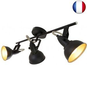 Briloner-Leuchten-Plafonnier-vintage-Barre-de-spots-Metal-noir-amp-or-mat