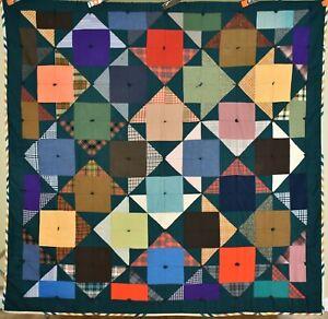 GRAPHIC Vintage Pinwheel Antique Quilt ~UNUSUAL, COLORFUL ARROW DESIGN!
