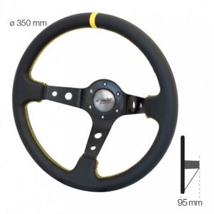 Simoni-Racing-Volante-Universale-SPEC-a-Calice-in-Ecopelle-Nera-e-Gialla