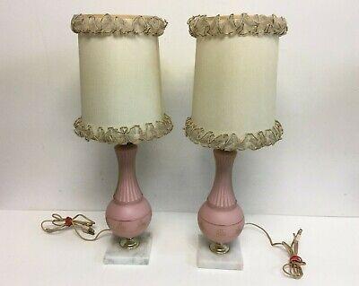 2 Lámparas De Mesa Vintage Soporte, Vintage Pink Satin Glass Lamp