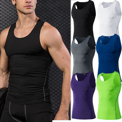 Men/'s Compression Top Running Basketball Gym Workout Tank Top Dri fit Spandex