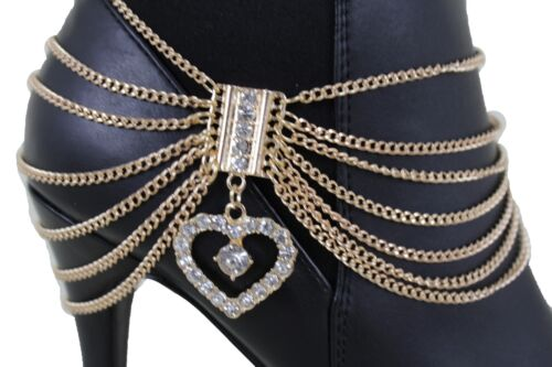 Women Gold Color Metal Chain Boot Bracelet Shoe Anklet Bling Heart Charm Holiday