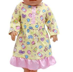 Puppen-Kleidung-Puppennachthemd-gelb-fuer-40-cm-bis-45-cm-Puppen-Nr-229a