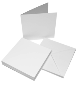 25 Bianco 17.8cm x Biglietti Vuoti 270gsm & Buste 100gsm Creazione Craft 1064