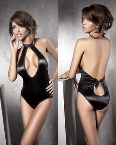Body sexy femme noir satin ouvert teddy lingerie ANAIS INSPIRATION ... 156f0447703