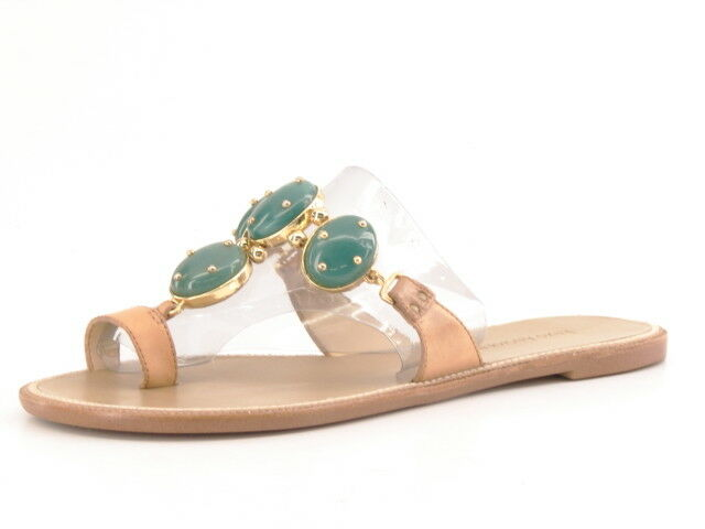 Nuevo Mujeres Cuero Tostado Enzo Angiolini embellecen Sandalia plana diapositiva Zapato M