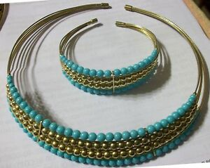 (Set) Artisan Greek Grecian Adjustable Wire Clamp Choker Necklace & Bracelet