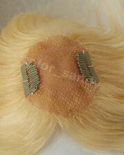 Human Hair Toupee 100% Echthaar Toupet Haarteil Clip in Extensions Platinblond