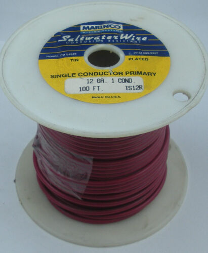 Marinco TS12R 12 Gauge Red Stranded Wire Tinned Copper 100 Ft 15575
