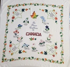 Vintage-Hand-printed-Tablecloth-Flower-Emblems-of-Canada-48x48-034-Square
