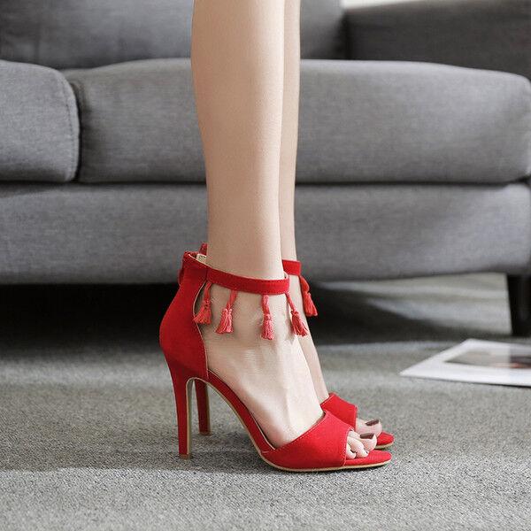 Sandalei eleganti tacco stiletto 12 cm simil rosso frange simil cm pelle eleganti 9667 9d44e0