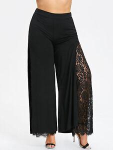 donna-moda-Taglie-Forti-Pantaloni-alto-spacco-pizzo-Palazzo-XL-5xl