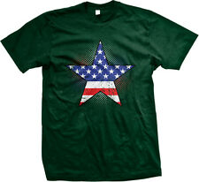 Star USA Flag Map Outline Patriotic Americana Red White and Blue Mens T-shirt