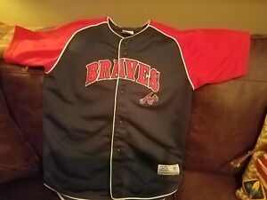 best service 3c159 b55a0 Details about TRUE FAN GENUINE MERCHANDISE VINTAGE ATLANTA BRAVES JERSEY  BOYS XL 16 18 SHIRT