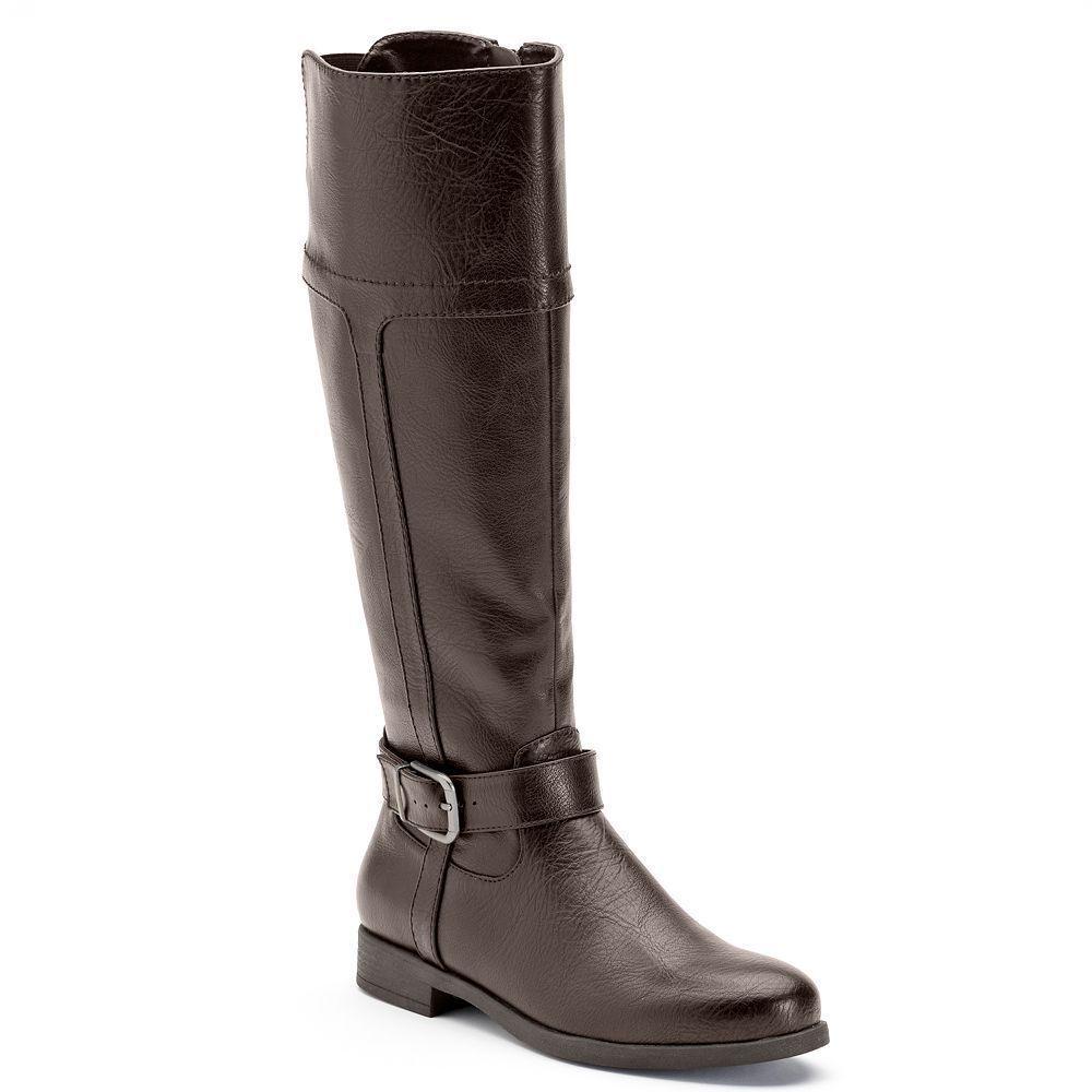 Women CROFT & BARROW Wide Calf Tall Riding Boots Knee High BROWN 9.5 Wide