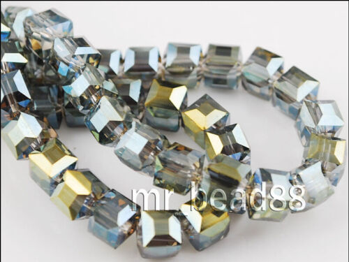 Bulk 25pcs Cube Glass Crystal Spacer Beads Craft Jewelry Finding 8x8mm Charms