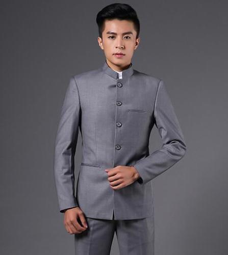 Homme stand col à boutonnage simple Chinois Tunique Veste Blazer Slim Fit Manteau