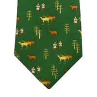 Olimpo Tie Green With Eskimos And Caribou 100% Silk Made In Spain Msrp $95