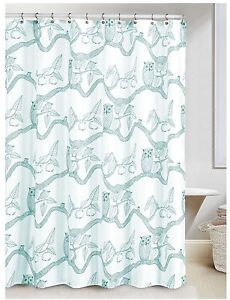 Image Is Loading NEW Teal Blue Owl Bird Nature Print Fabric