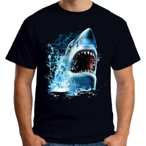 Velocitee Mens Shark Bite T Shirt Big Animal Head Face Jaws A17838