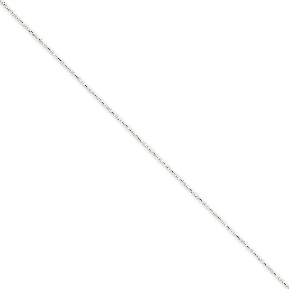 14k White gold 1.2mm Diamond -Cut Beaded Pendant Chain Bracelet   Anklet 9 Inch