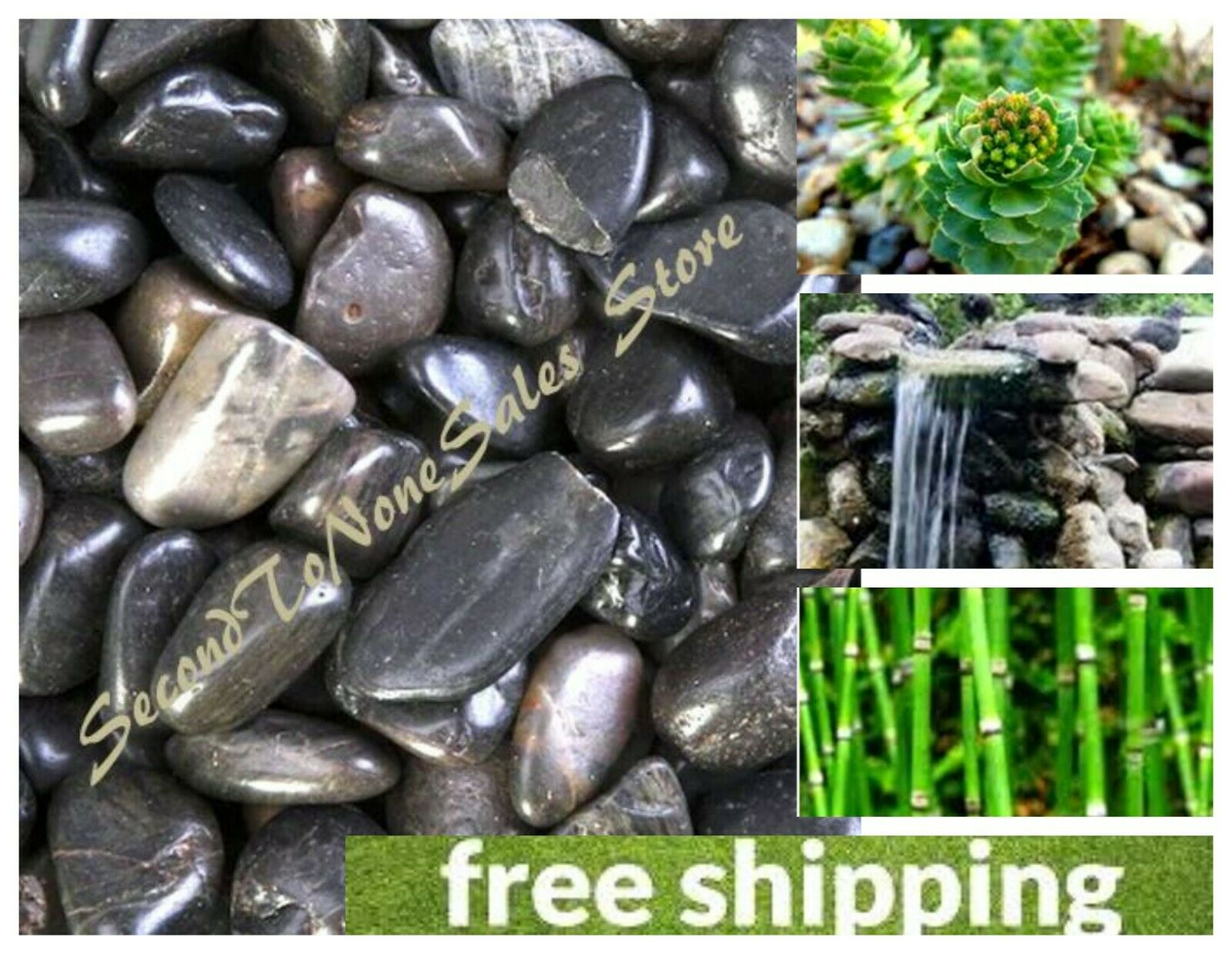Polished Black River Rocks Natural Decorative Stones Garden Fountain Display 5lb