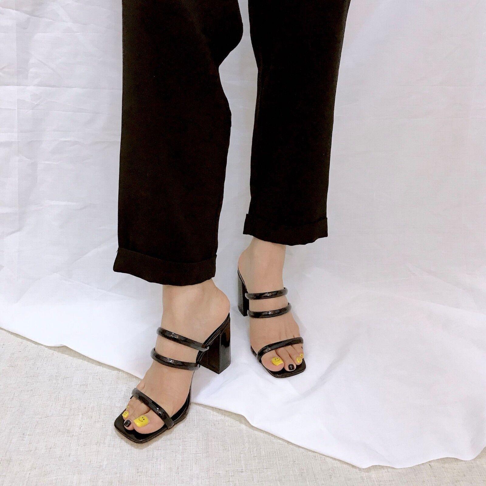 Moda barata y hermosa sandali 7 cm eleganti nero lucido tacco quadrato sandali simil pelle 1098