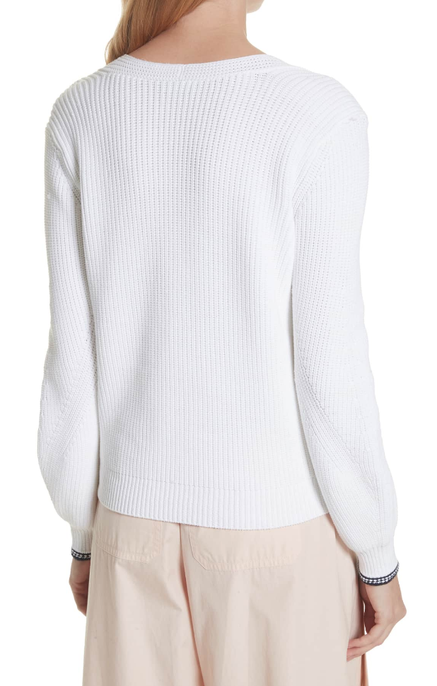 Vince Womens White White White Bishop Sleeve Sweater Sz S 5815 48468b
