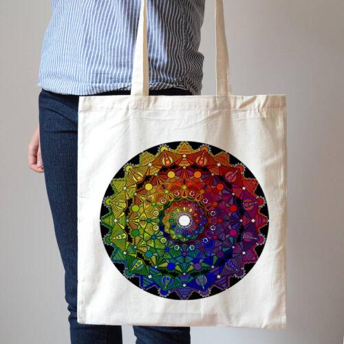 Mandala Mistico Colorful Art Indian Tapestry Fashion Cotton Canvas Tote Bag T198