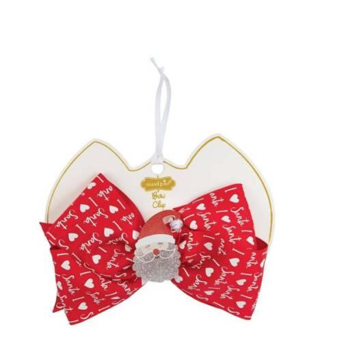 Mud Pie Holiday Santa Acrylic Hair Bow Clip