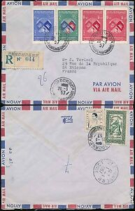 CAMBODIA 1957 REGISTERED AIRMAIL...UN SET MULTI FRANKING