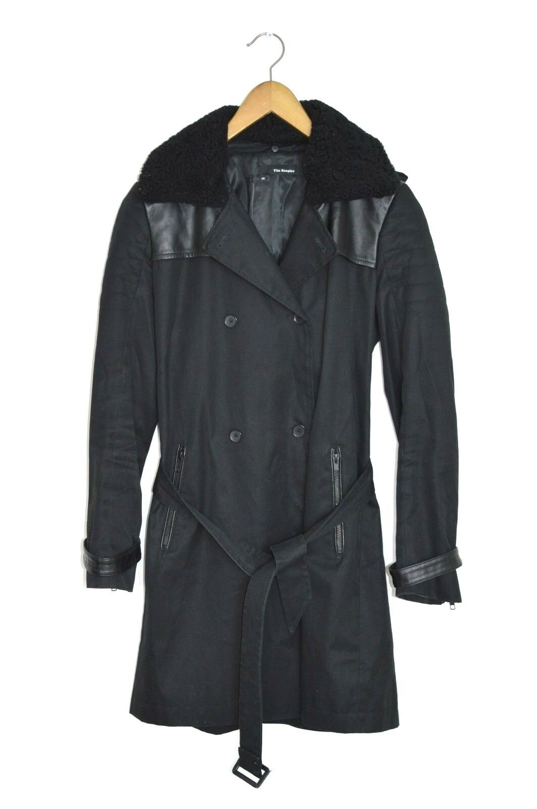 STUNNING The Kooples Ladies Cotton Trench with leather detail UK10 US6 EU38