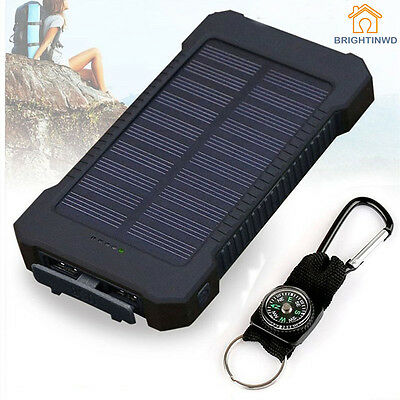 Solar USB Power Bank 10000mAh Waterproof Portable Charger Battery For Phone