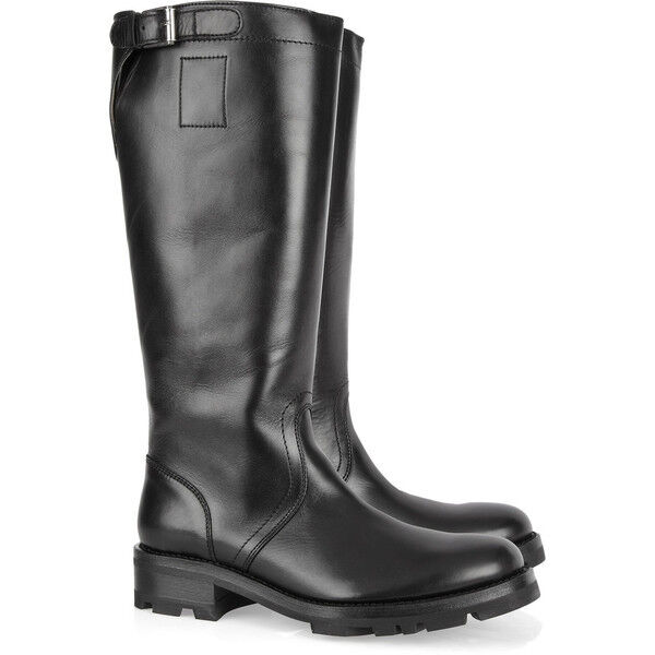 $1255 NEW Jil Sander Knee Moto Flat Boots Black Leather Buckle Shoes 39