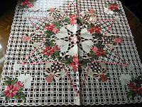 Christmas Embroidered Tablecloth Cut Work Pink Poinsettia 33 Square Ecru