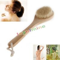 Natural Long Wooden Bristle Body Bath Brush Massager Shower Back Spa Scrubber