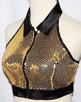 L Gold Sequin Gangsta Salsa Jazz Gothic Burlesque Belly Dance Dancing Vest Top